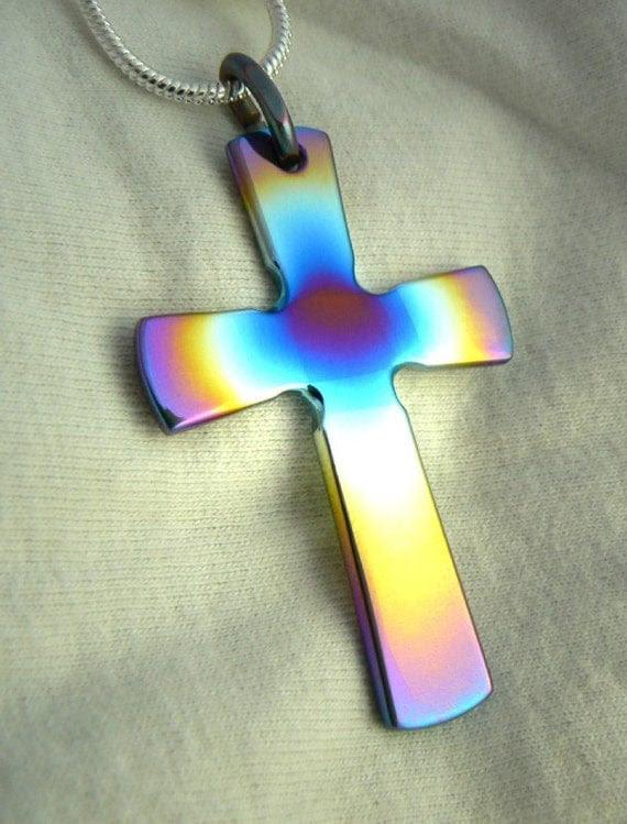 Pendant, Titanium Rainbow Cross