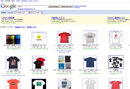 T shirts Seach on Google Image Search with Ads