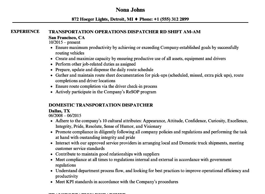 dispatcher resume transportation resume samples  best