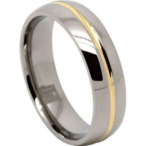 Unique Gold Centreline Design Men's Titanium Wedding Ring