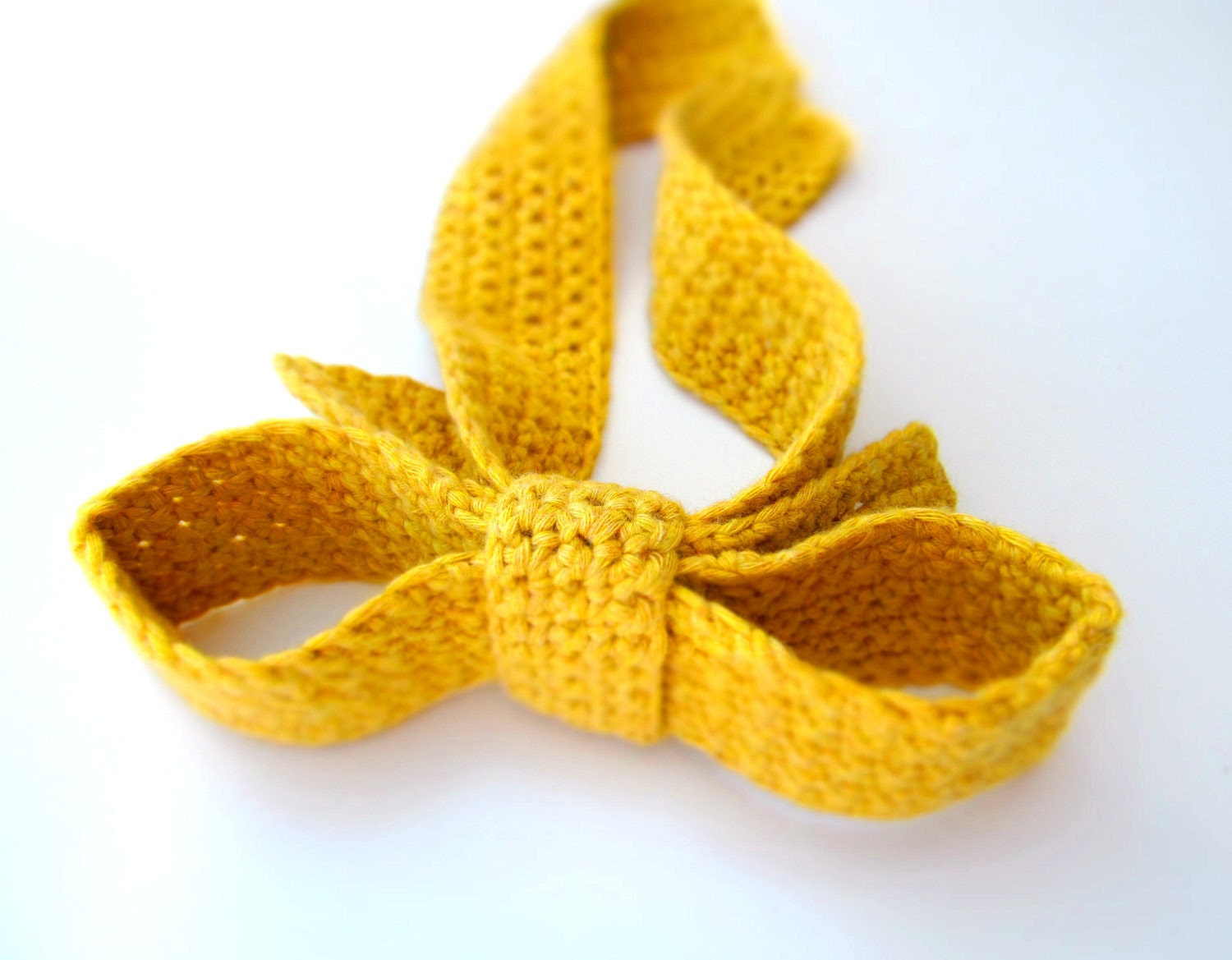 Yellow mustard bow tie / Crochet woman necktie / Big Bow fashion accessory for woman or kid europeanstreetteam - LikeFreja