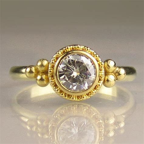 22k Gold Granulated Moissanite Engagement Ring, Yellow