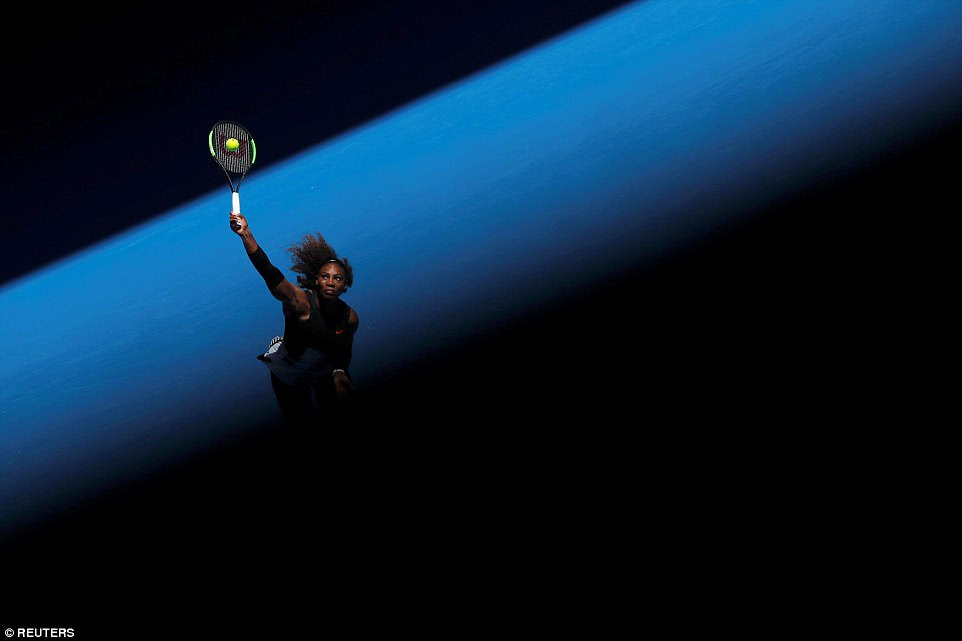 Serena Williams of the U.S. serves during her women's singles third round tennis match against Nicole Gibbs of the US in the Australian Open 2017 in Melbourne, Australia, on January 21