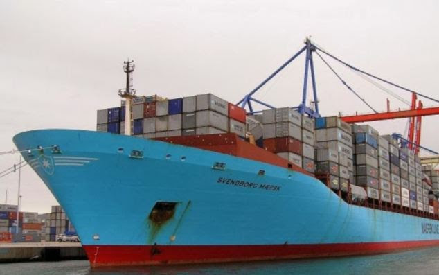 It said that 15 per cent of the containers lost held dry goods like frozen meat