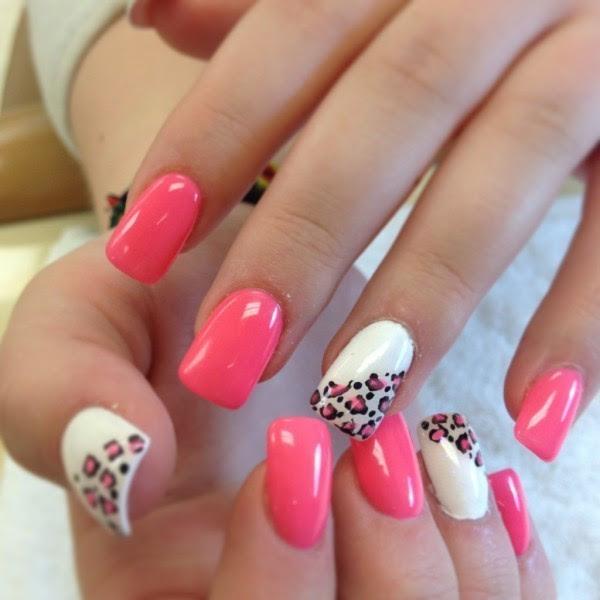 Unhas Decoradas 2015 rosa com branco