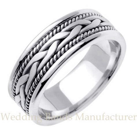 14K WHITE GOLD BRAIDED WEDDING BAND MENS INTERLACED ROPE