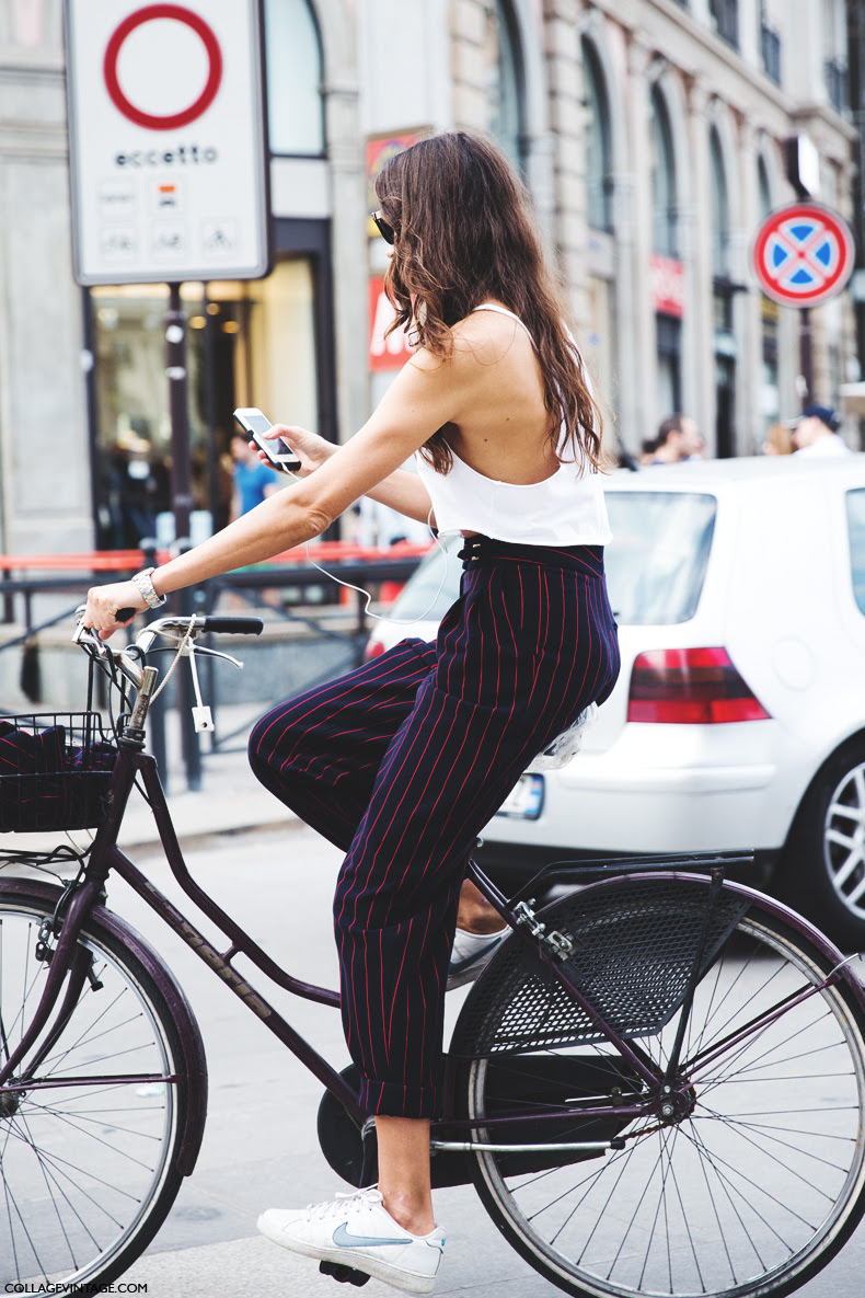 Milan_Fashion_Week_Spring_Summer_15-MFW-Street_Style-Striped_Trousers-Nike_Sneakers-Bike-