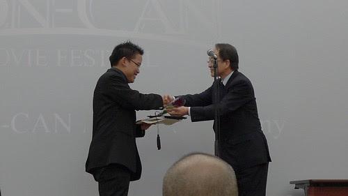 Receiving the Grand Prix award