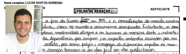 Trecho de redação de Lucas Santos Barbosa, de Alagoas. (Foto: Reprodução/Divulgação)