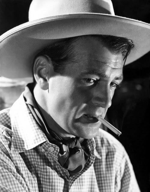 Gary Cooper, 1938, foto de publicidade para o vaqueiro e da Senhora