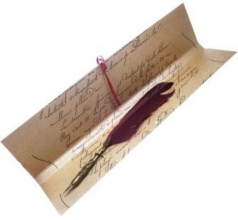 Pluma Ave Escritura Antigua Rubinato Granate