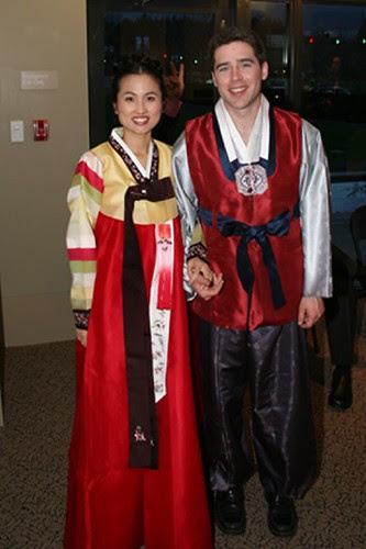 There the happy couple changed into tradition Korean wedding garb and the