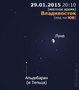 Растущая Луна вблизи Альдебарана на вечернем небе Владивостока 29 января 2015 г.