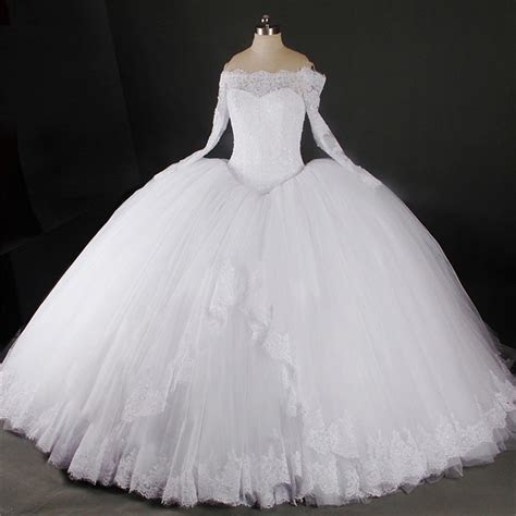 Ball Gown Off The Shoulder Long Sleeve Lace Tulle Puffy