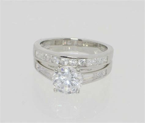 Sterling Silver Engagement Ring & Wedding Band Cubic