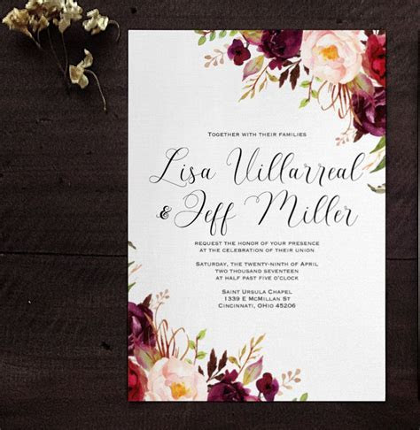 Marsala Wine Floral wedding invitation. Blush wedding