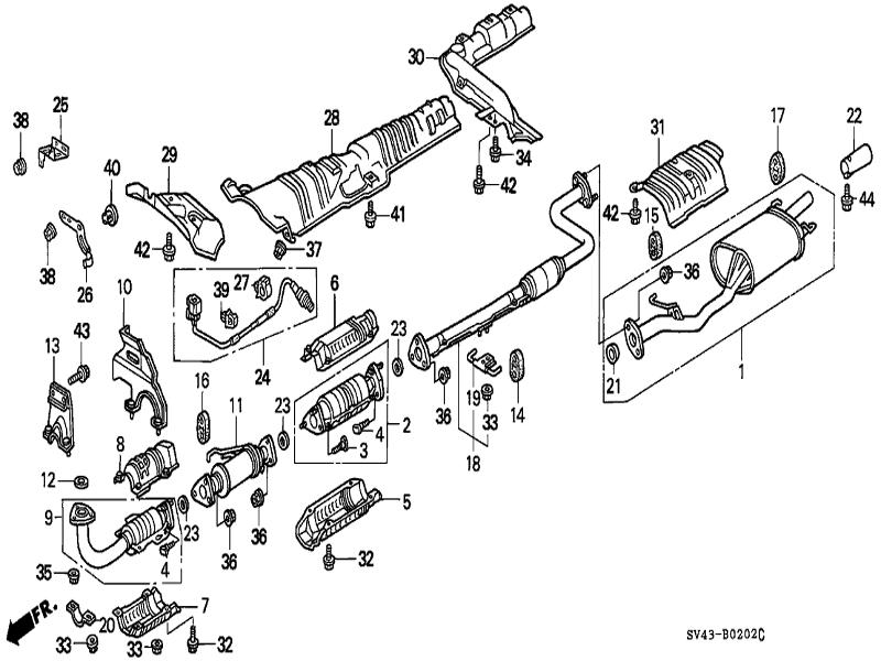 33 honda accord exhaust system diagram