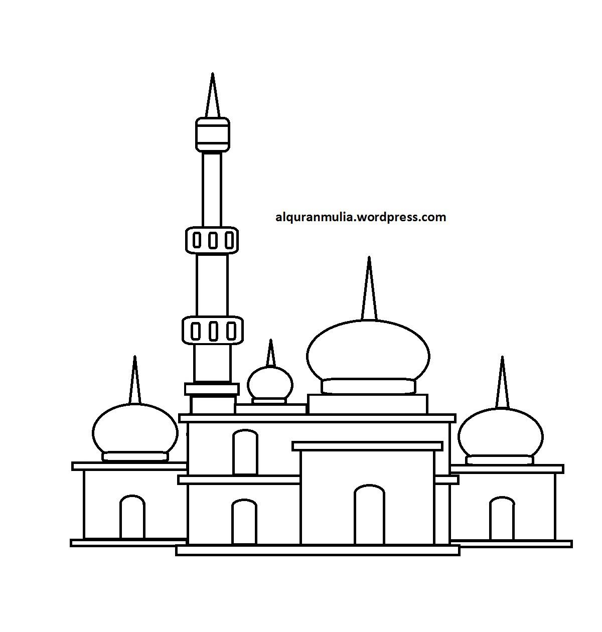 Mewarnai Gambar Masjid 27 Anak Muslim Sketch Coloring Page
