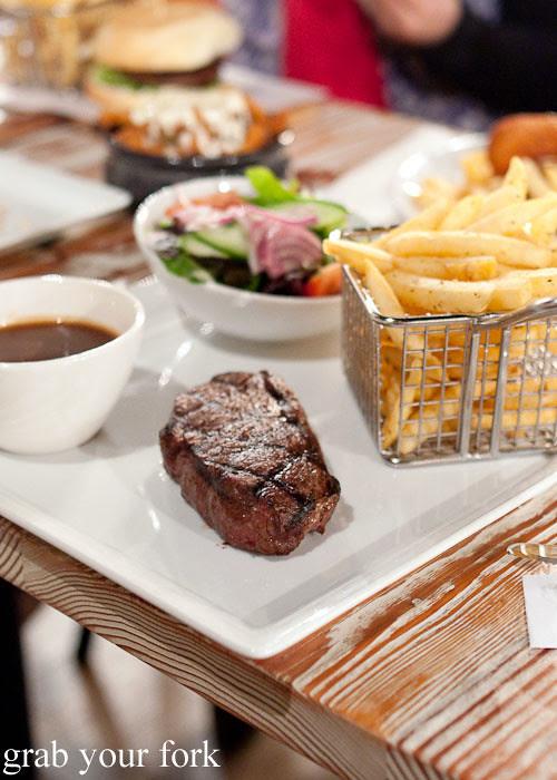 sirloin steak chips and salad at marrickville ritz hotel