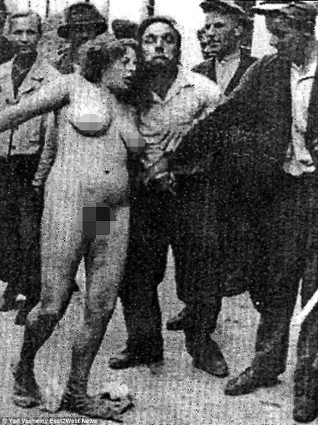 Inhumane: Backed by their new Nazi occupiers, Ukrainian mobs would rip women's clothes off in the streets during organised riots known as Pogroms