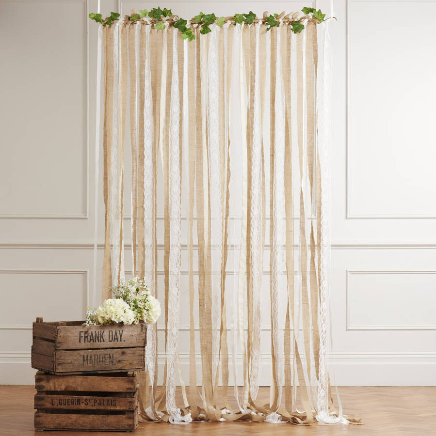 hessian and lace wedding backdrop on white pole by just ...