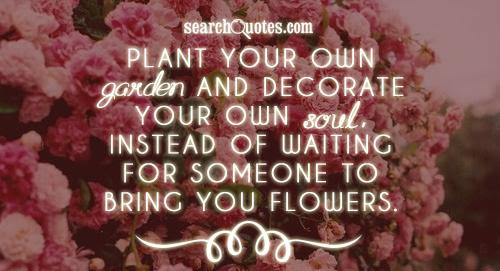 Plant Your Own Garden And Decorate Your Own Soul Instead Of Waiting
