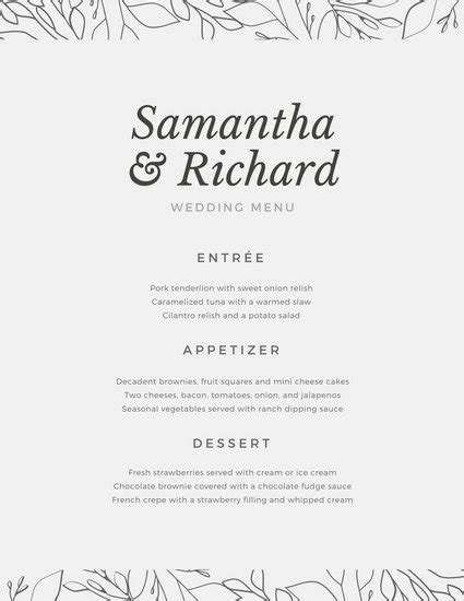 Customize 273  Wedding Menu templates online   Canva