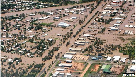 Flooded streets in Emerald, Queensland