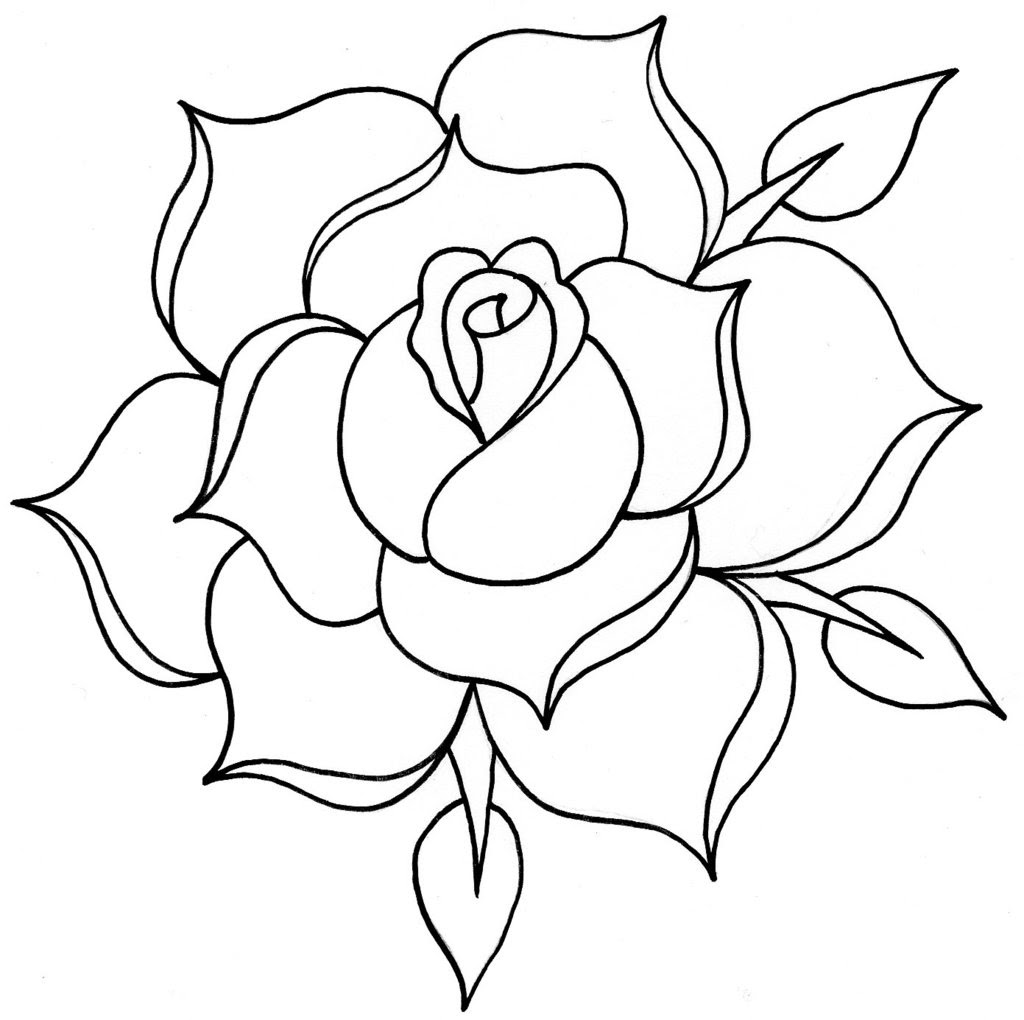 Free Line Drawing Of A Rose, Download Free Clip Art, Free ...