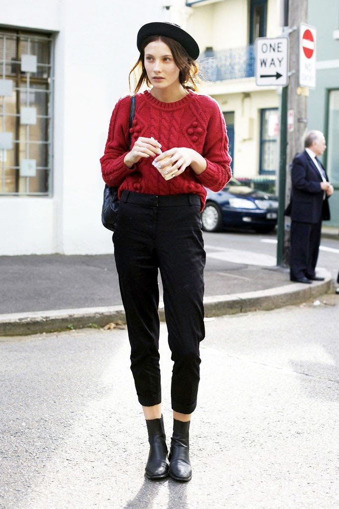 Le Fashion Blog Fall Winter Model Street Style Black Pork Pie Hat Chunky Knit Red Sweater High Waisted Crop Pants Ankle Boots Olivia Thornton Parisian Inspired Via Street Peeper