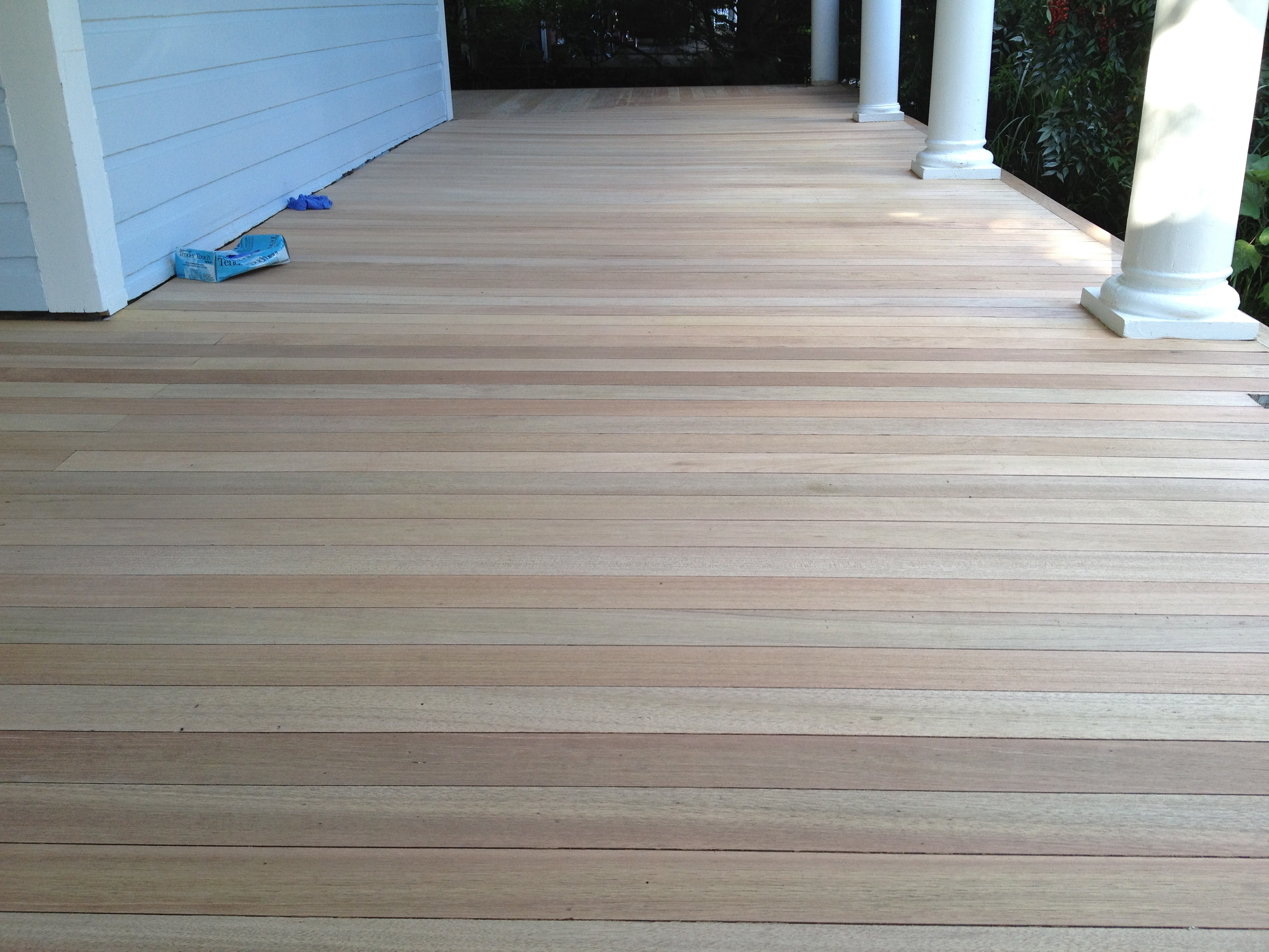 Front Porch – Part 3 of 3 Where we sand and stain the floor But