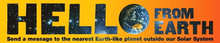 'HELLO FROM EARTH' banner.