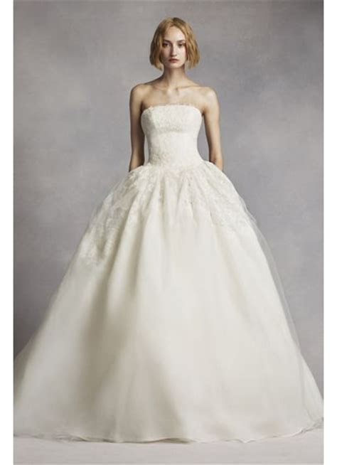 White by Vera Wang Twill Gazar Lace Wedding Dress   David