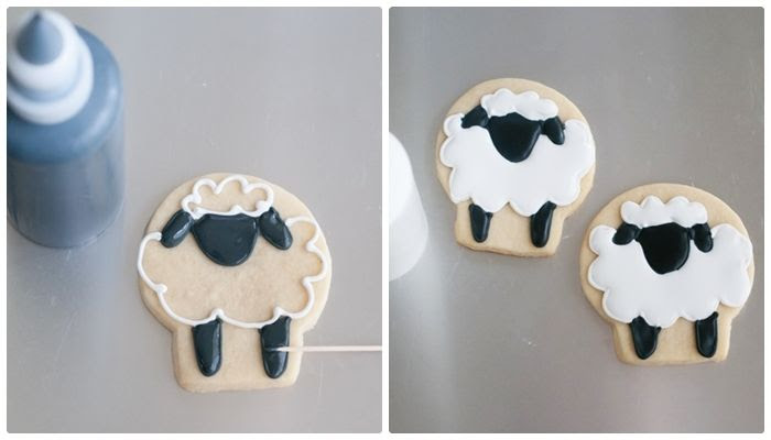 simple sheep decorated cookies | bakeat350.blogspot.com