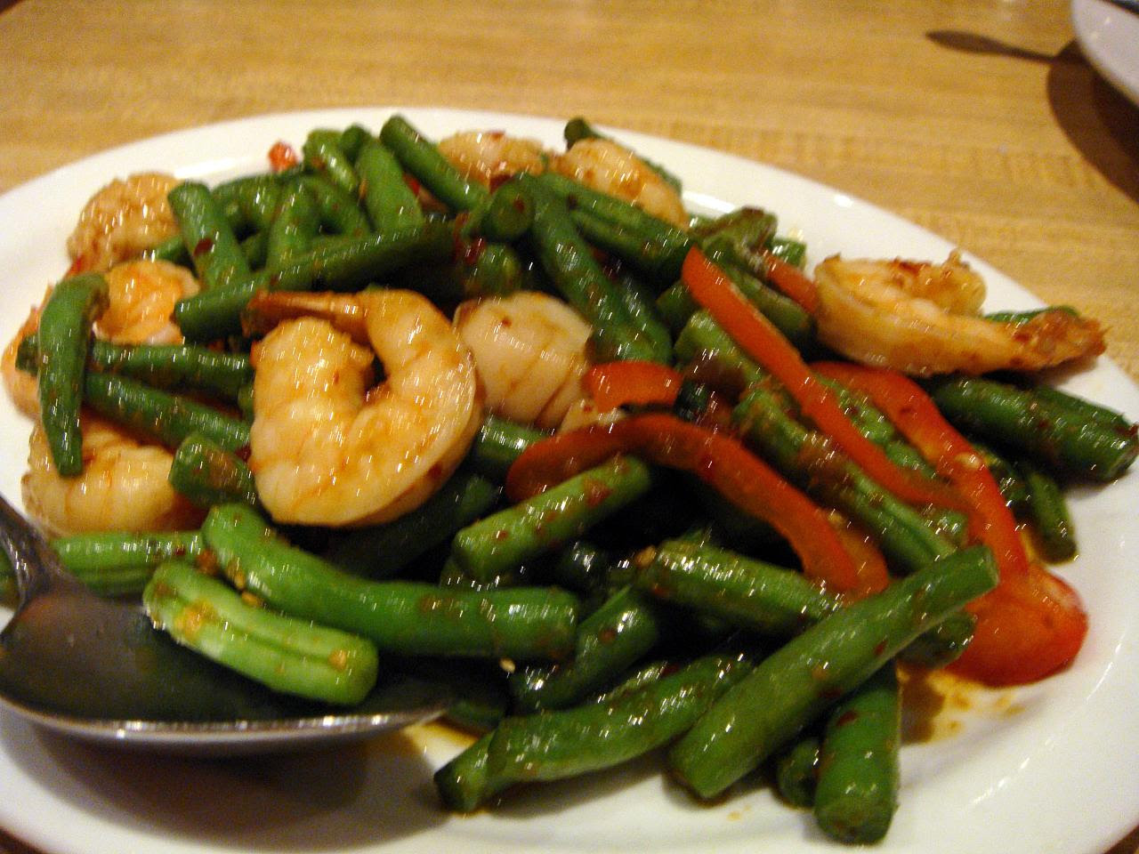 Spicy Green beans with shrimp and scallops