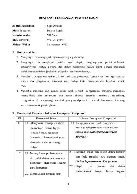 RPP Bahasa Inggris kelas 8 Kurikulum 2013 (terbaru) chapter 4
