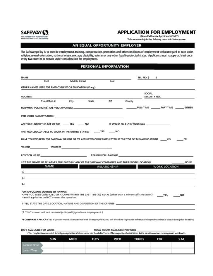 19 Pdf Employment Application Template California