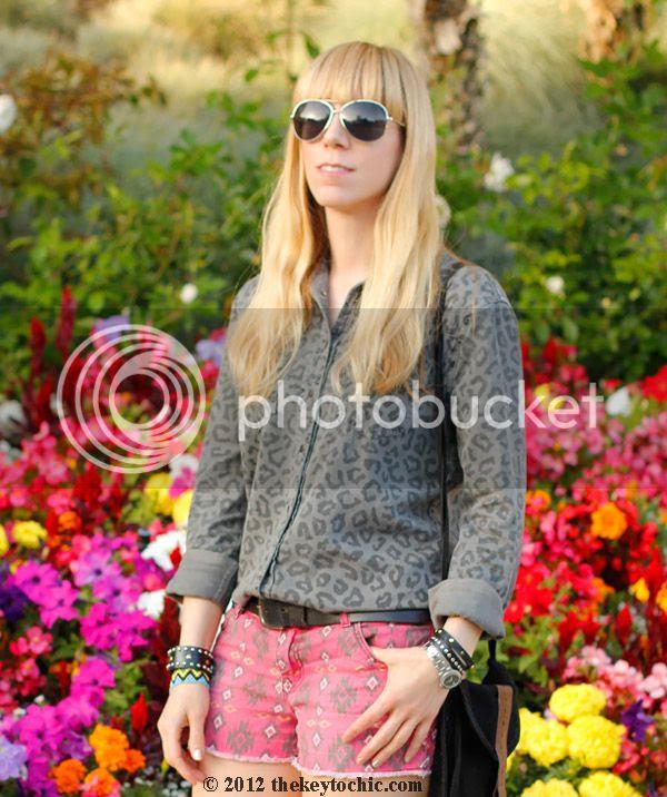 Equipment blouse, tribal shorts, Zara ankle strap heels, Los Angeles fashion blogger