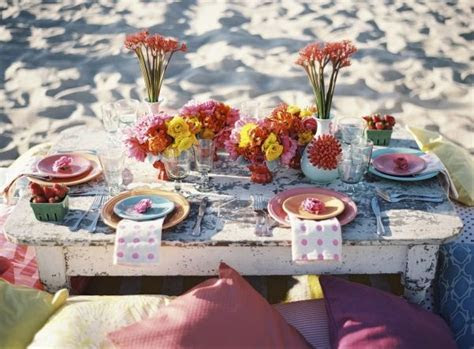 Chic & colourful beach wedding reception ideas   Fab Mood