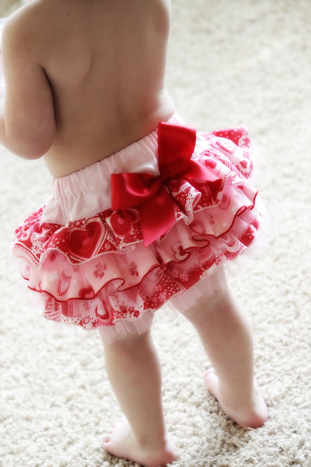 Girls VALENTINE Pink Sweetheart  FULLFLUFF  Ruffled Bottom Bloomer Diaper Cover  2t, 3t, 4t, 5