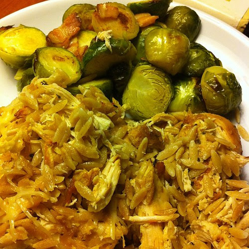 Parmesan Crockpot Chicken w/ Orzo & Roasted Brussels