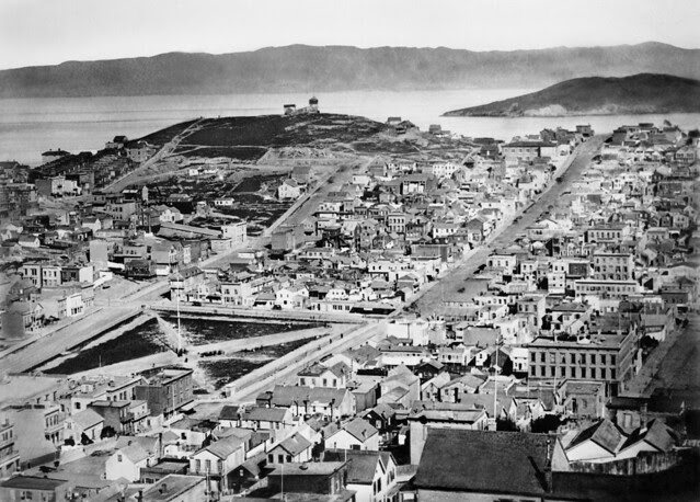 Telegraph Hill from Russian Hill c1870