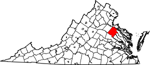 Map of Virginia highlighting Caroline County