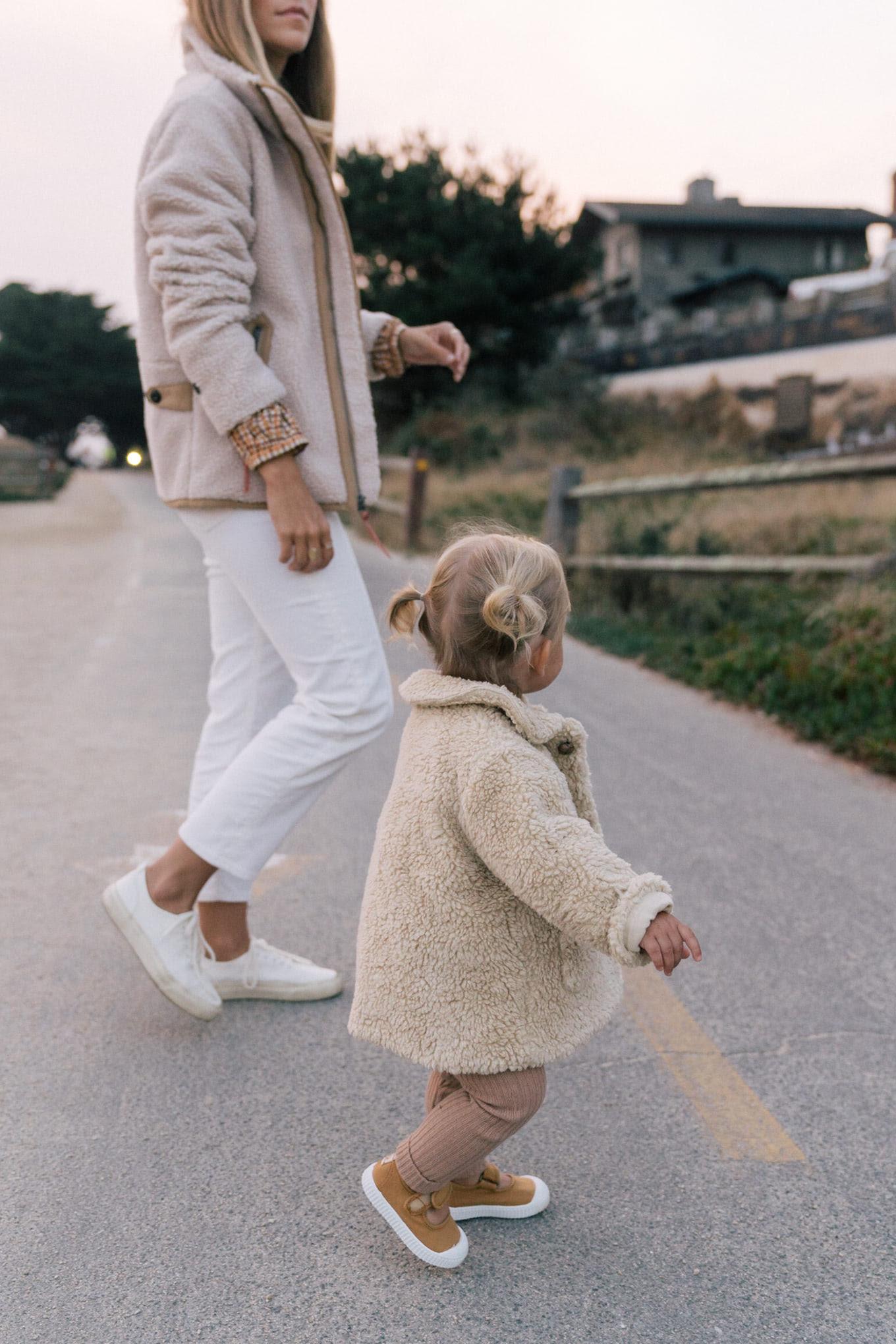 cream fleece white pants