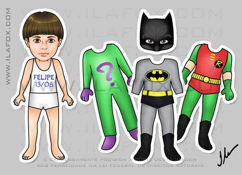 Lembrancinha original, imã, esta infantil, lembrancinha de trocar roupinha, Batman, Charada e Robin, by ila fox