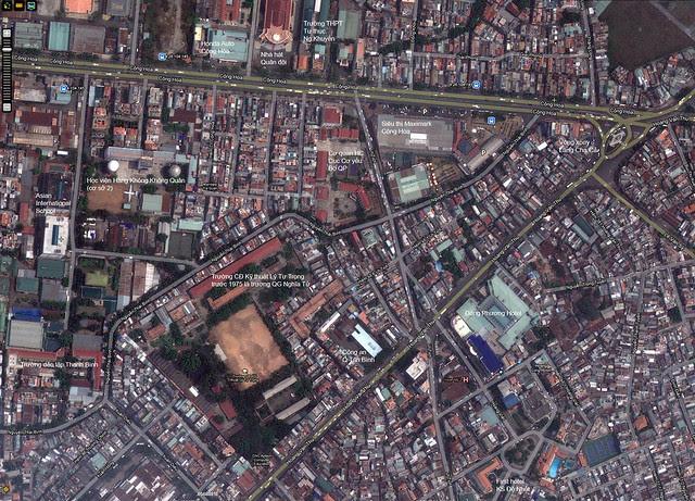 Bản đồ Wikimapia khu vực đường Cộng Hòa, Hoàng Văn Thụ và vòng xoay Lăng Cha Cả ngày nay