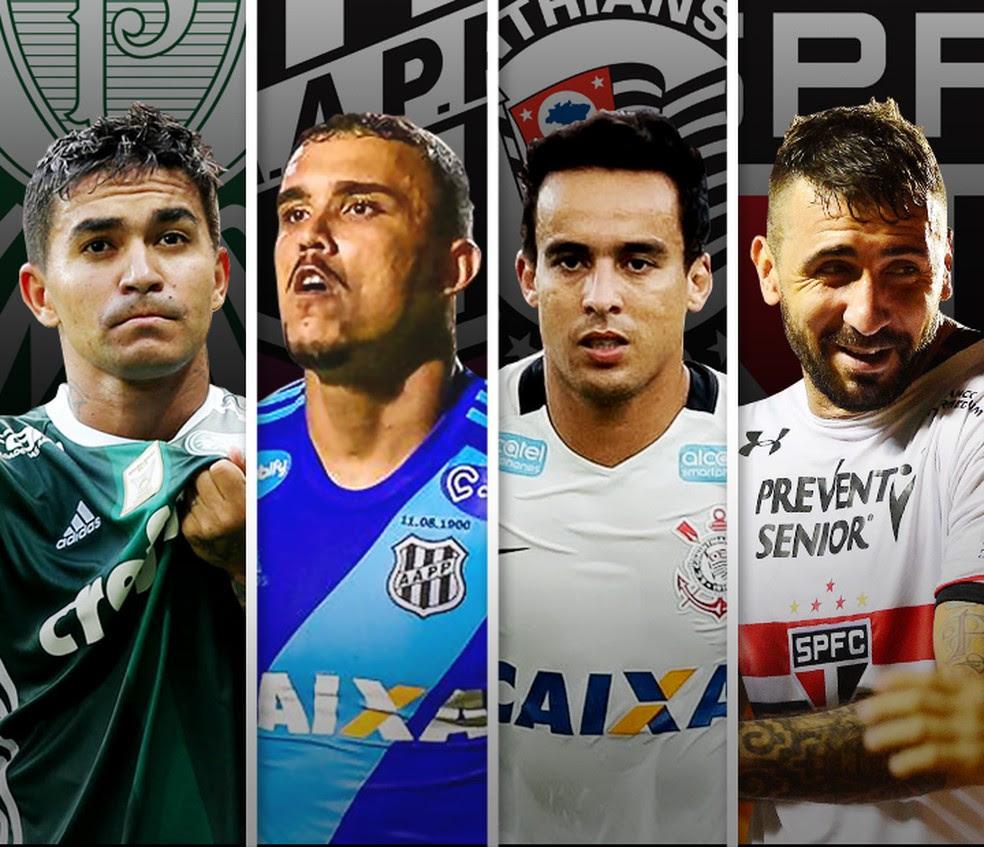 Dudu (Palmeiras), Pottker (Ponte Preta), Jadson (Corinthians) e Pratto (São Paulo), estrelas dos semifinalistas do Paulistão (Foto: infoesporte)
