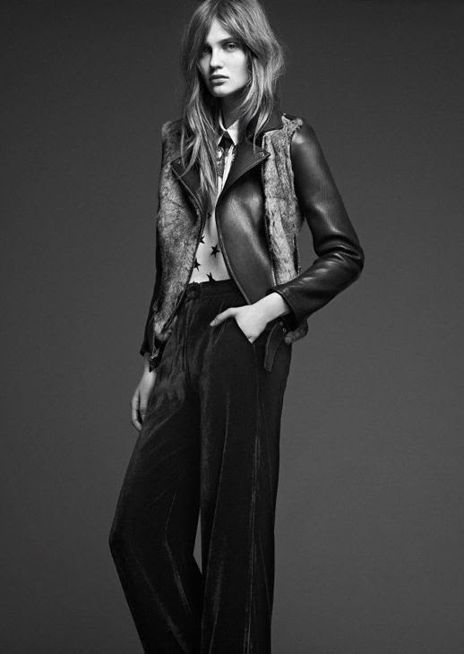 LE FASHION IMAGE SANDRO FW 2012 CAMPAIGN LOOKBOOK LEATHER MOTO JACKET FUR VEST DETAIL COLLARED PRINT BUTTON UP SHIRT VELVET WIDE LEG PANTS  MESSY LONG WAVY HAIR NATURAL BEAUTY CLEAN CLASSIC 9