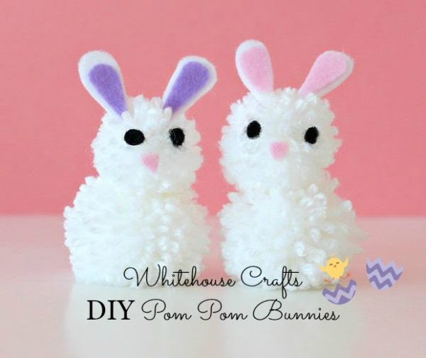 Feature Pic by Karren Oh My Heartsie Girl Whitehouse Crafts DIY Pom Pom Bunnies