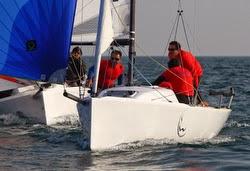 J/70s sailing off Alassio, Italy